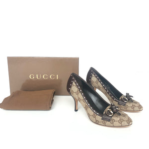 GUCCI SIGNATURE HORSEBIT BROWN LEATHER BOW PUMPS 35.5