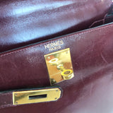 HERMES VINTAGE KELLY 28 RETOURNE BURGUNDY CHÈVRE SMOOTH LEATHER BAG