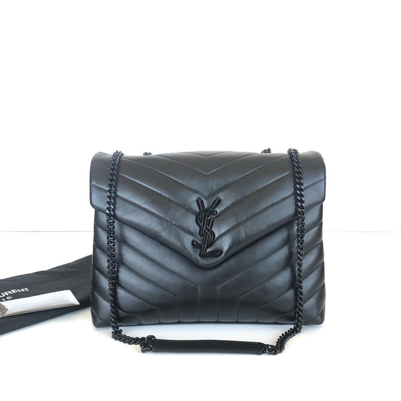 SAINT LAURENT LOU LOU  MEDIUM MATELASSE BLK LEATHER