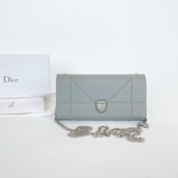 DIOR DIORAMA GREY WALLET ON CHAIN