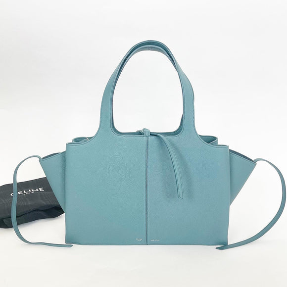 CELINE GREEN PEBBLED LEATHER MEDIUM TRI FOLD TOTE BAG