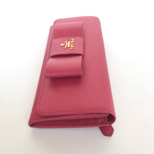 PRADA BOW CONTINENTAL SAFFIANO PEONIA/ PINK LEATHER WALLET