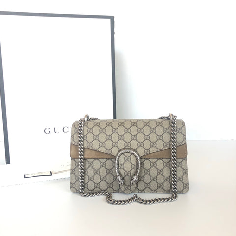 GUCCI DIONYSUS SUPREME BEIGE SMALL GG SHOULDER BAG