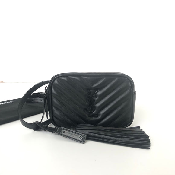 SAINT LAURENT LOU BELT BAG IN BLK LEATHER BLK HW