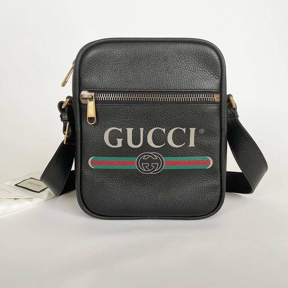 GUCCI VINTAGE LOGO BLK LEATHER LARGE CROSSBODY