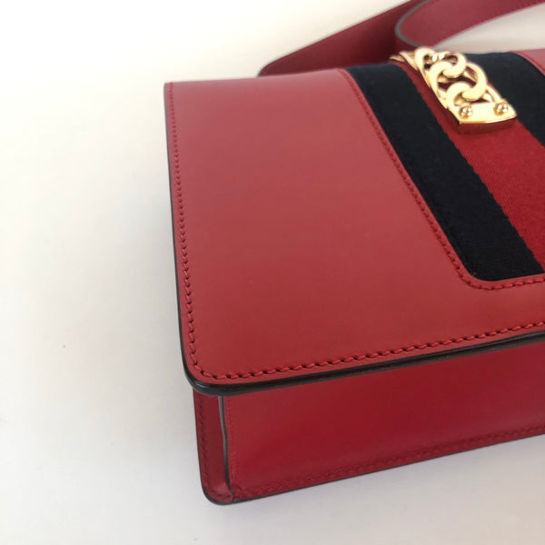 GUCCI SYLVIE SMALL RED SHOULDER BAG
