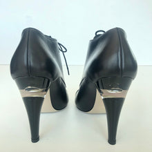 CHANEL BLK LEATHER LUCITE PEARL HEEL LACE UP BOOTIES sz 38.5