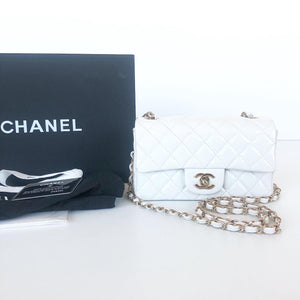 CHANEL MINI RECTANGLE WHITE PATENT FLAP BAG GHW