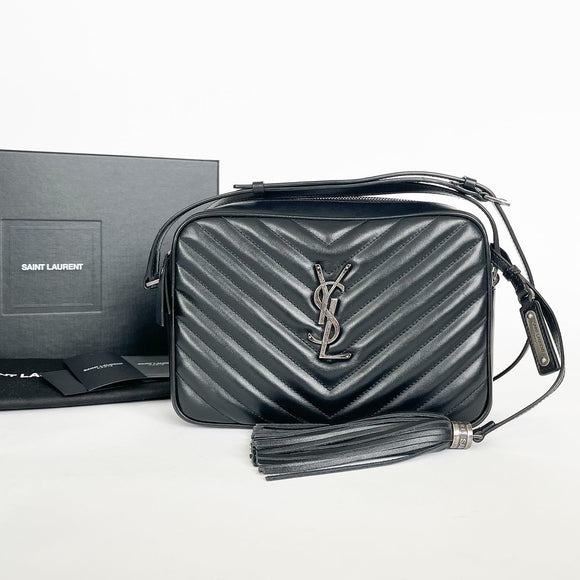 SAINT LAURENT LOU CAMERA BAG IN BLK QUILTED LEATHER