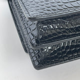 SAINT LAURENT SUNSET MEDIUM IN CROC EMBOSSED SHINY BLK LEATHER WITH BLK HW