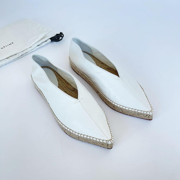 CELINE BABOUCHE WHITE LEATHER ESPADRILLE FLATS