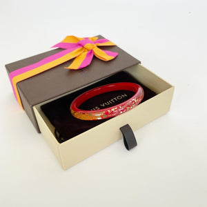 LOUIS VUITTON INCLUSION RED AND GOLD BANGLE