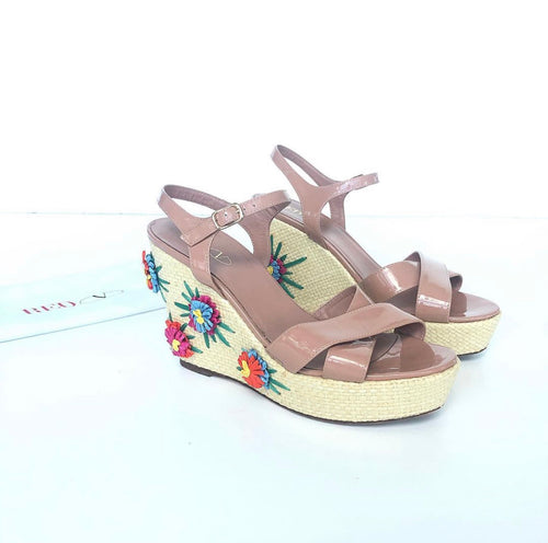 RED VALENTINO STRAW WEDGE FLOWER NUDE SANDALS 40.5