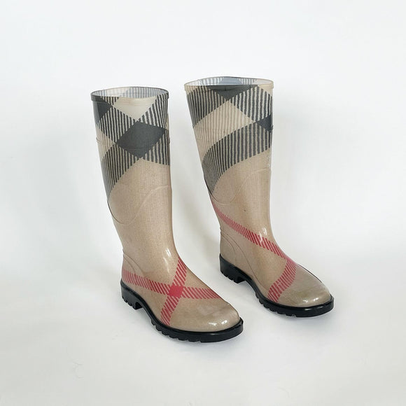 BURBERRY HOUSE CHECK RAIN BOOTS 40