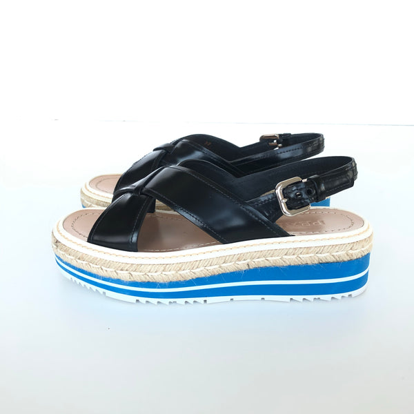 PRADA CRISSCROSS BLK LEATHER PLATFORM SANDALS 37