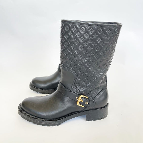 LOUIS VUITTON REBELLION BLK LEATHER EMBOSSED HALF BOOTS 39