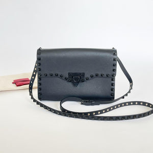 VALENTINO SMALL ROCKSTUD BLACK SMOOTH LEATHER CROSSBODY BAG/ CLUTCH