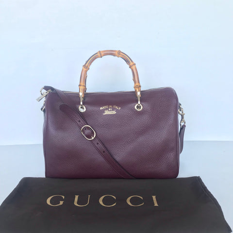 GUCCI BAMBOO HANDLE BURGUNDY TOTE - BLuxe Boutique