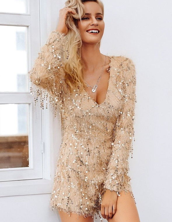 Champagne Sequin Jumpsuit