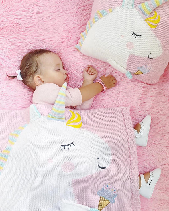 3D Cotton Knitted Unicorn Baby Blanket