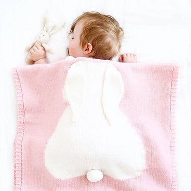 3D Cotton Knitted Rabbit Baby Blanket