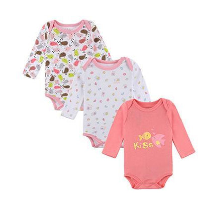 100% Cotton Baby Long Sleeve Bodysuit 3pcs
