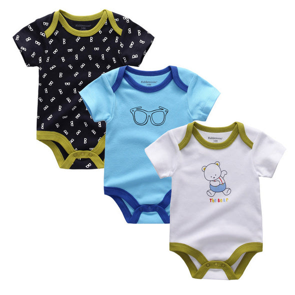 Cute Baby Boy Organic Cotton Bodysuit 3Pcs