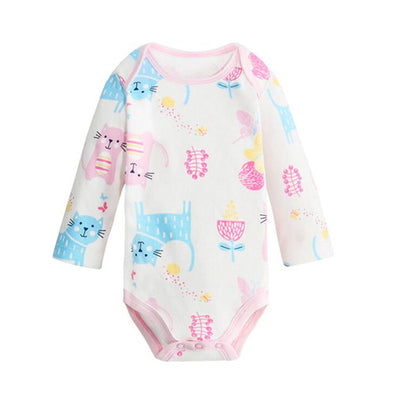 Blue Little Kitty Print on a baby white bodysuite