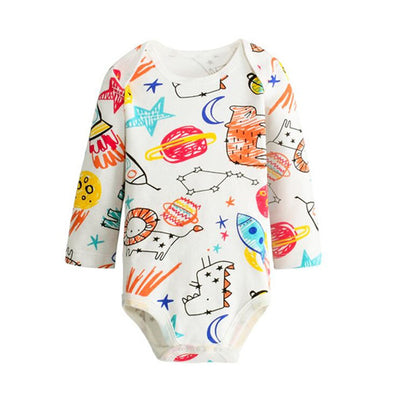 Sun and moon, saturn and planets prints on a white baby jumpsuite, long sleeves