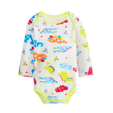 crocodile and turtle print on a white baby jumpsuit