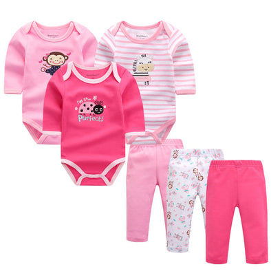 3 jumpsuits and 3 pants set for baby girls red, pink and stripe