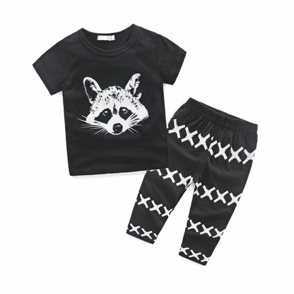 Black Raccoon Pattern Newborn Set with top and pants