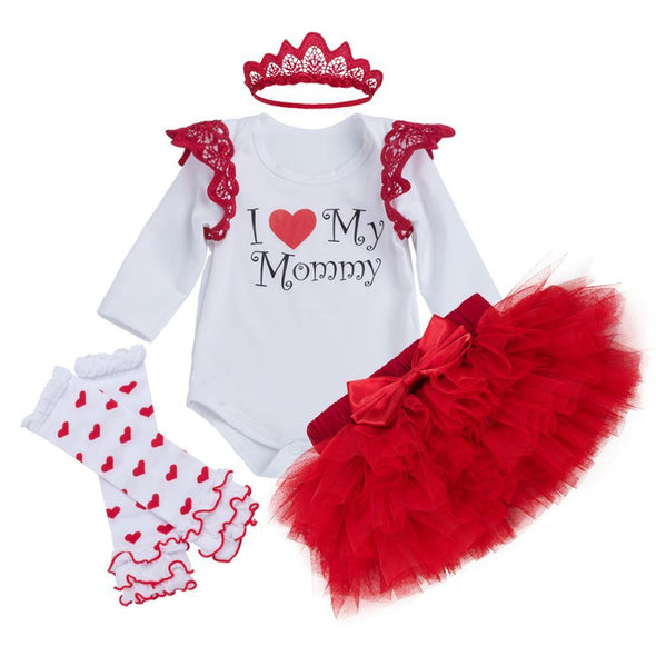 Red Girls Clothing Set Mother's Day Gift