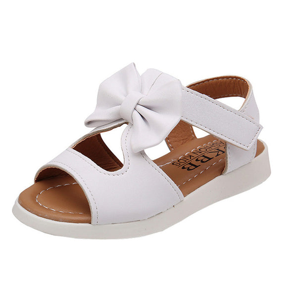 Toddler Girl's Bow Decor Solid Sandals