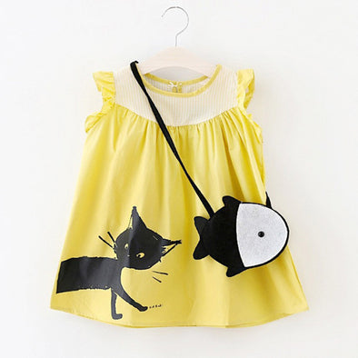 Toddler Girl and Kitty Summer Dress