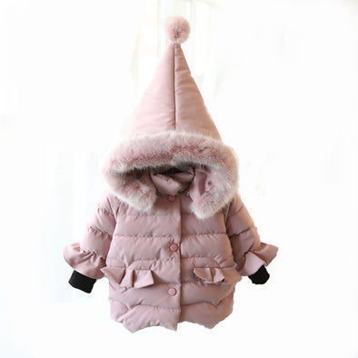 Winter Fur Collar Hooded Jacket For Girls
