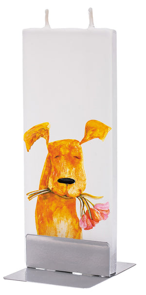 Dog With Pink Flowers in Mouth Candle