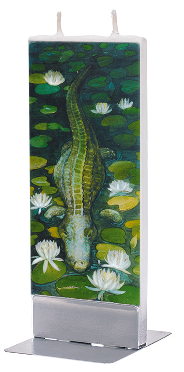 Alligator in Swamp with Water Lilies Candle