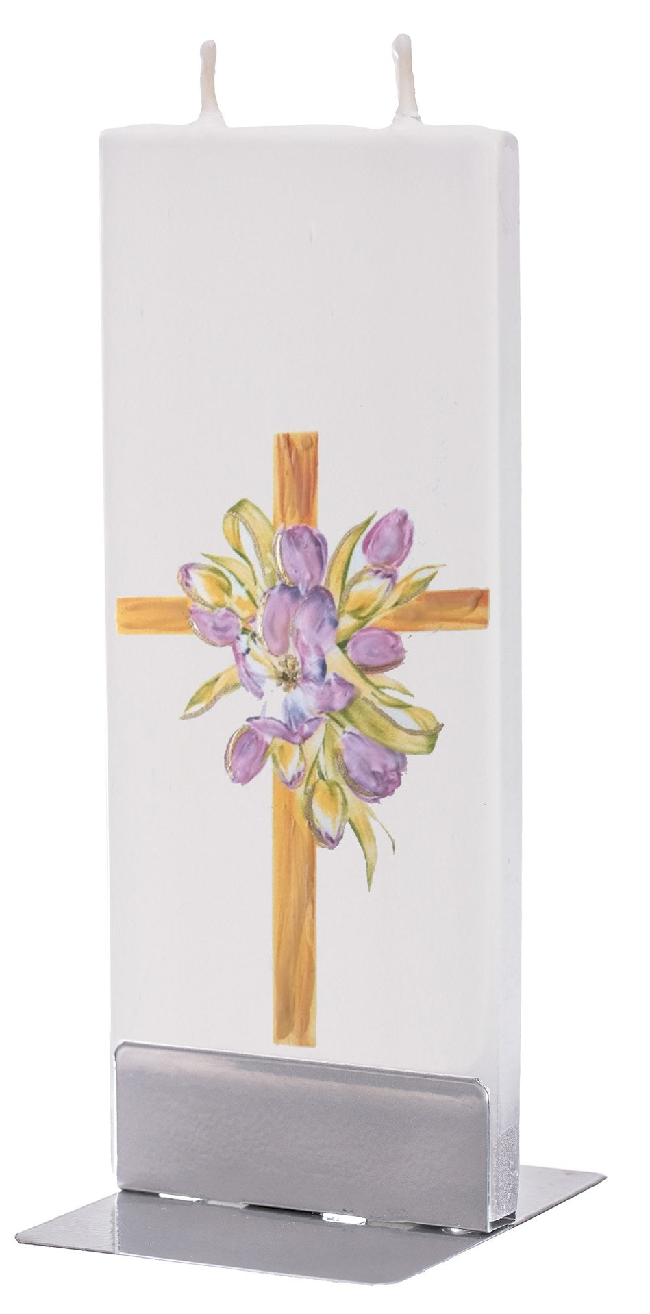 Tulips on Easter Cross Candle
