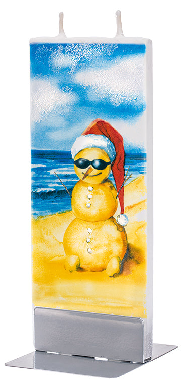 Christmas Sandman on Beach Candle