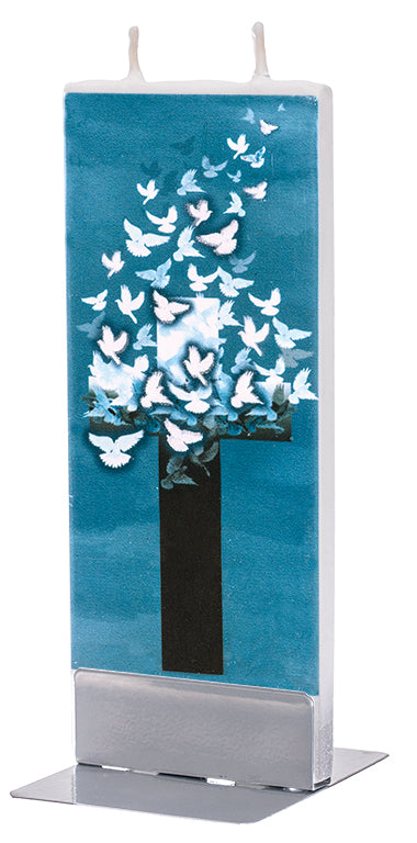 Cross with Flying Doves Candle
