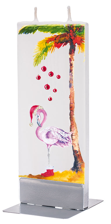 Christmas Flamingo and Palm Tree Candle