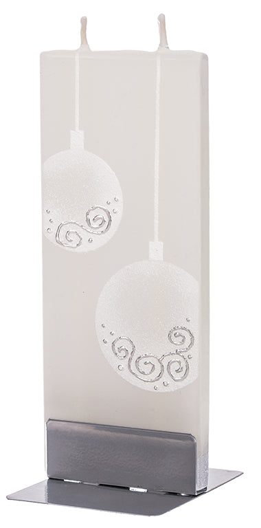Christmas Ornament Balls, White with Silver