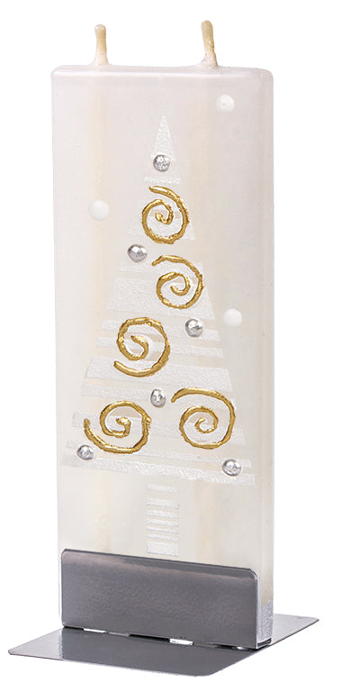 White Christmas Tree with Gold Swirls