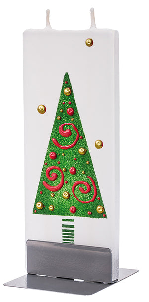 Green Christmas Tree with Red Swirls