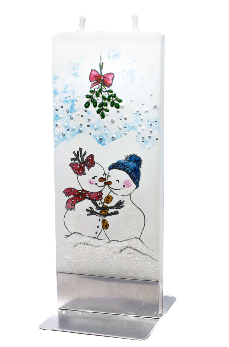 Christmas Candle Snowman under Mistletoe