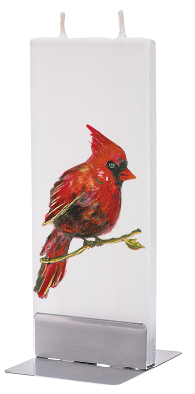 Red Cardinal Candle on Branch - White