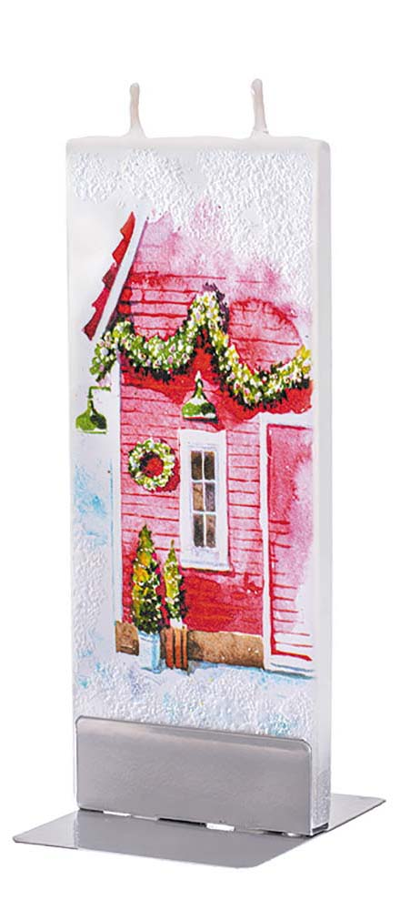 Red Winter Christmas House Candle
