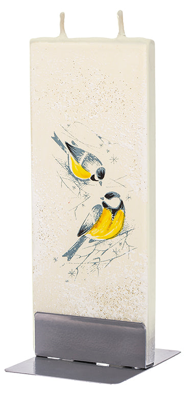 Two Yellow Birds on Branches