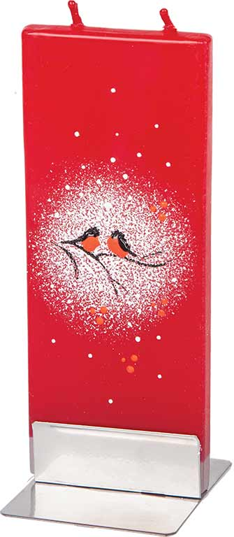 Two Birds in Snow on Red Background